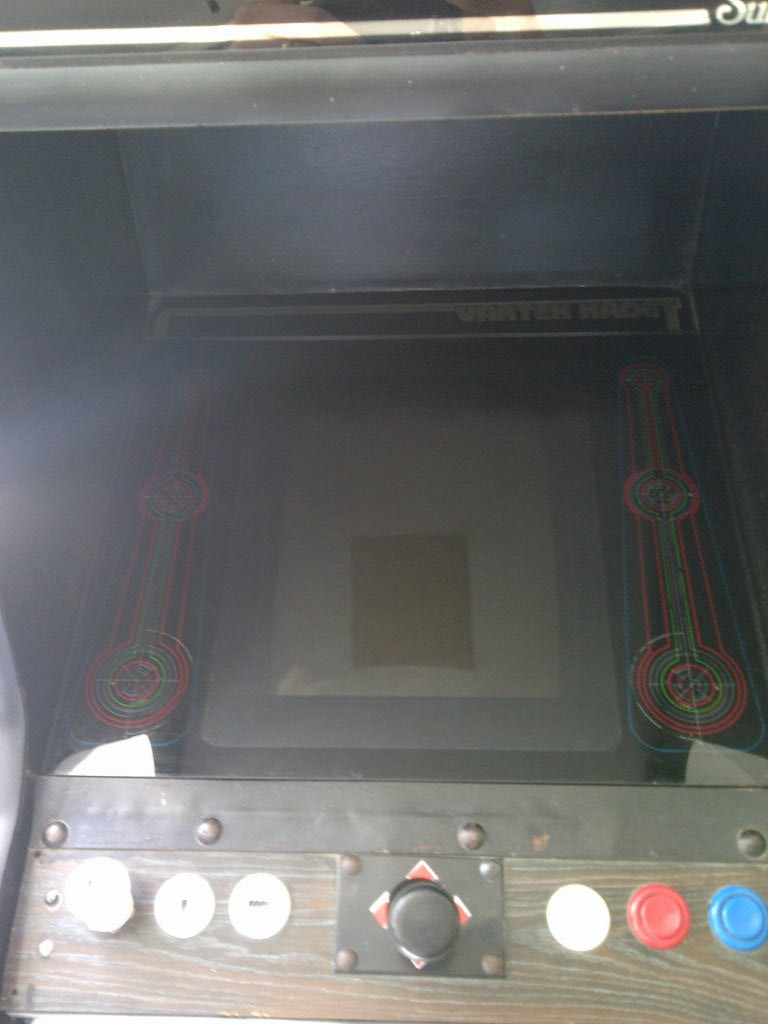 "Tron ""cabaret"" back glass in place on our cabaret conversion machine"